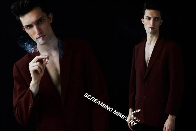 Male model Max Von Isser photographed in vintage suit jackets by Alexander Thompson for Ponyboy magazine.