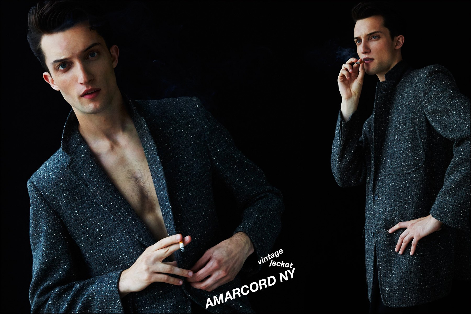 Max Von Isser, with the Fusion Agency NY, photographed in suit jackets. Photography by Alexander Thompson for Ponyboy magazine NY.
