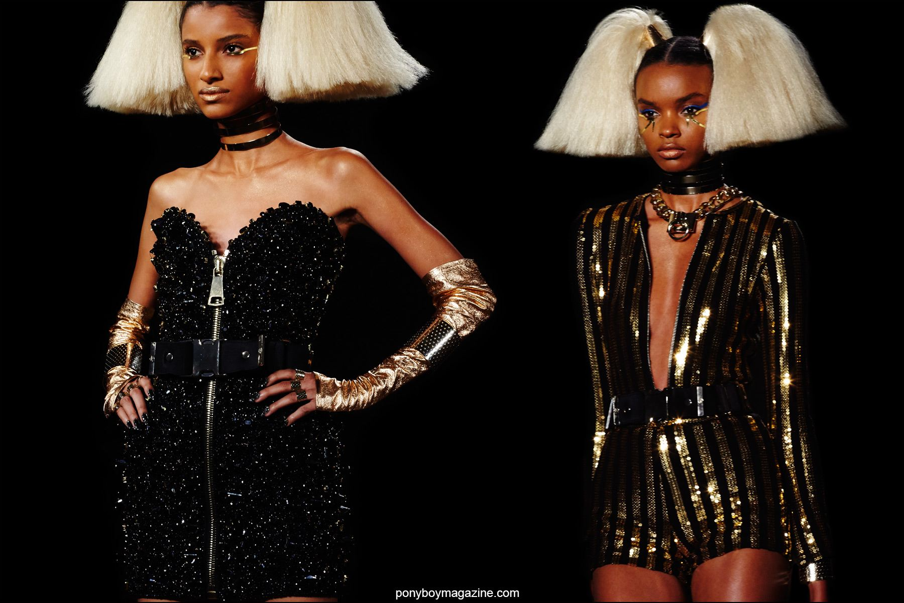 Glittery creations on the Blonds Spring/Summer 2016 runway, photographed by Alexander Thompson for Ponyboy magazine NY.