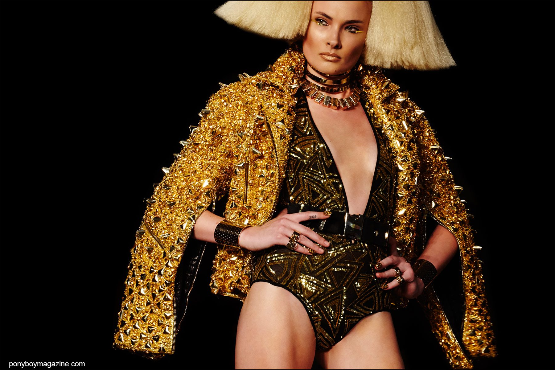 A glamorous gold motorcycle jacket from the Blonds Spring/Summer 2016 runway show. Photography by Alexander Thompson for Ponyboy magazine NY.