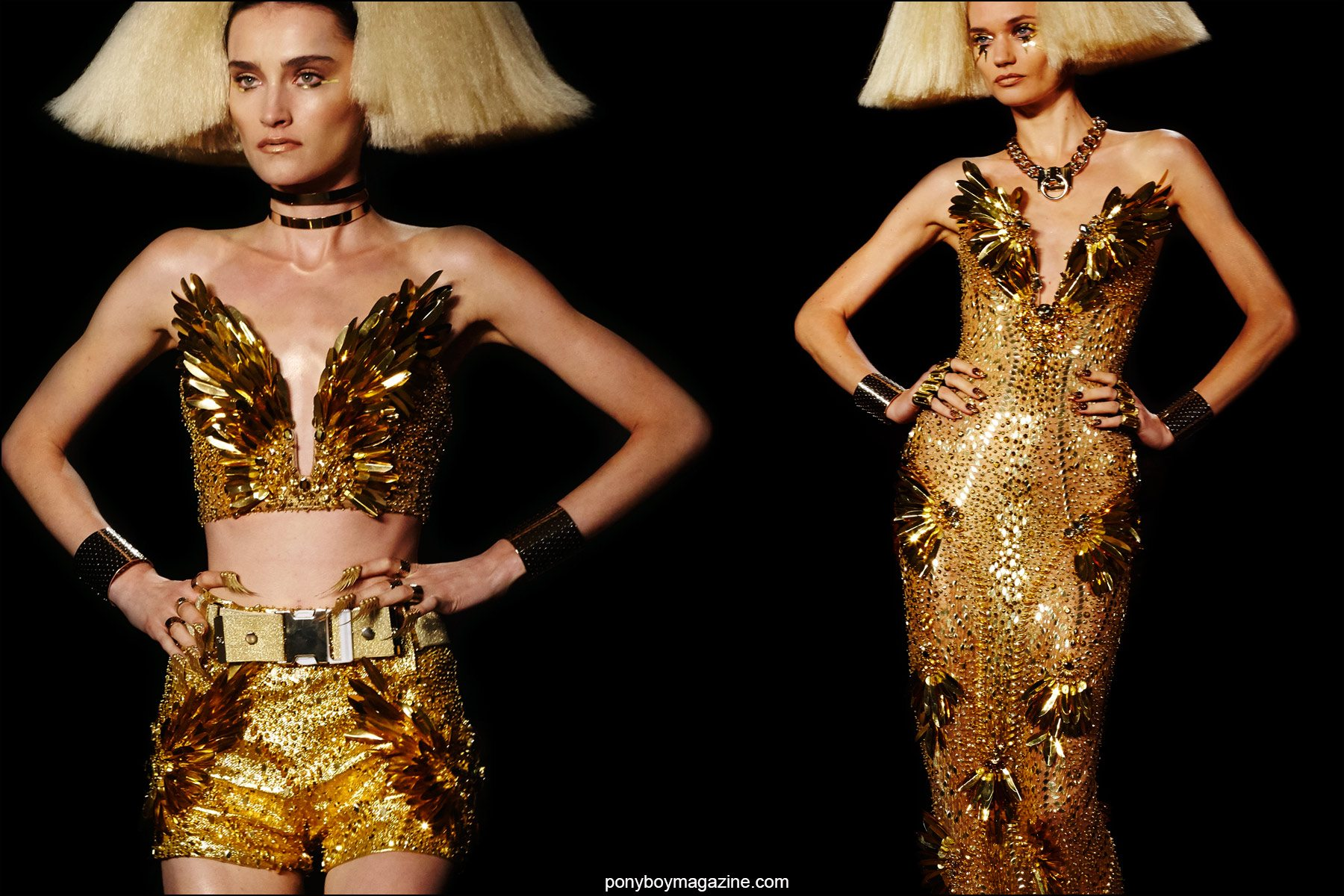 Fabulous golden creations on the Blonds Spring/Summer 2016 runway, photographed by Alexander Thompson for Ponyboy magazine NY.