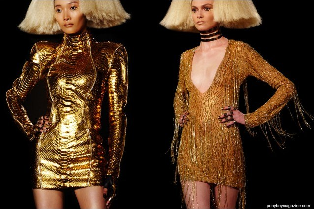 Gold mini dresses, on the runway at the Blonds S/S16 show. Photography by Alexander Thompson for Ponyboy magazine.