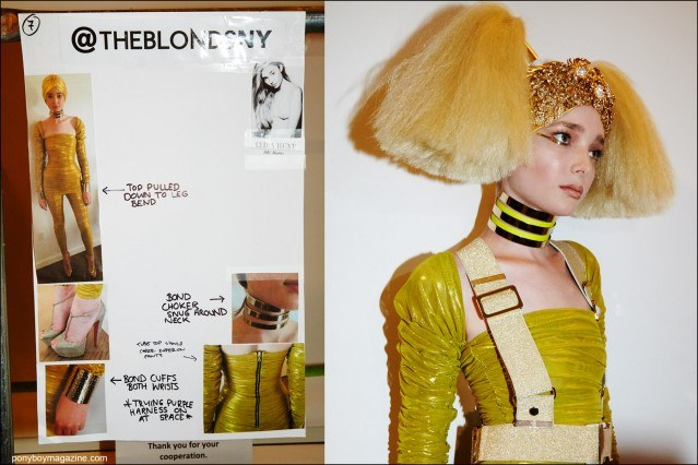 Model Lydia Hunt snapped backstage at the Blonds S/S16 runway show by Alexander Thompson for Ponyboy magazine.