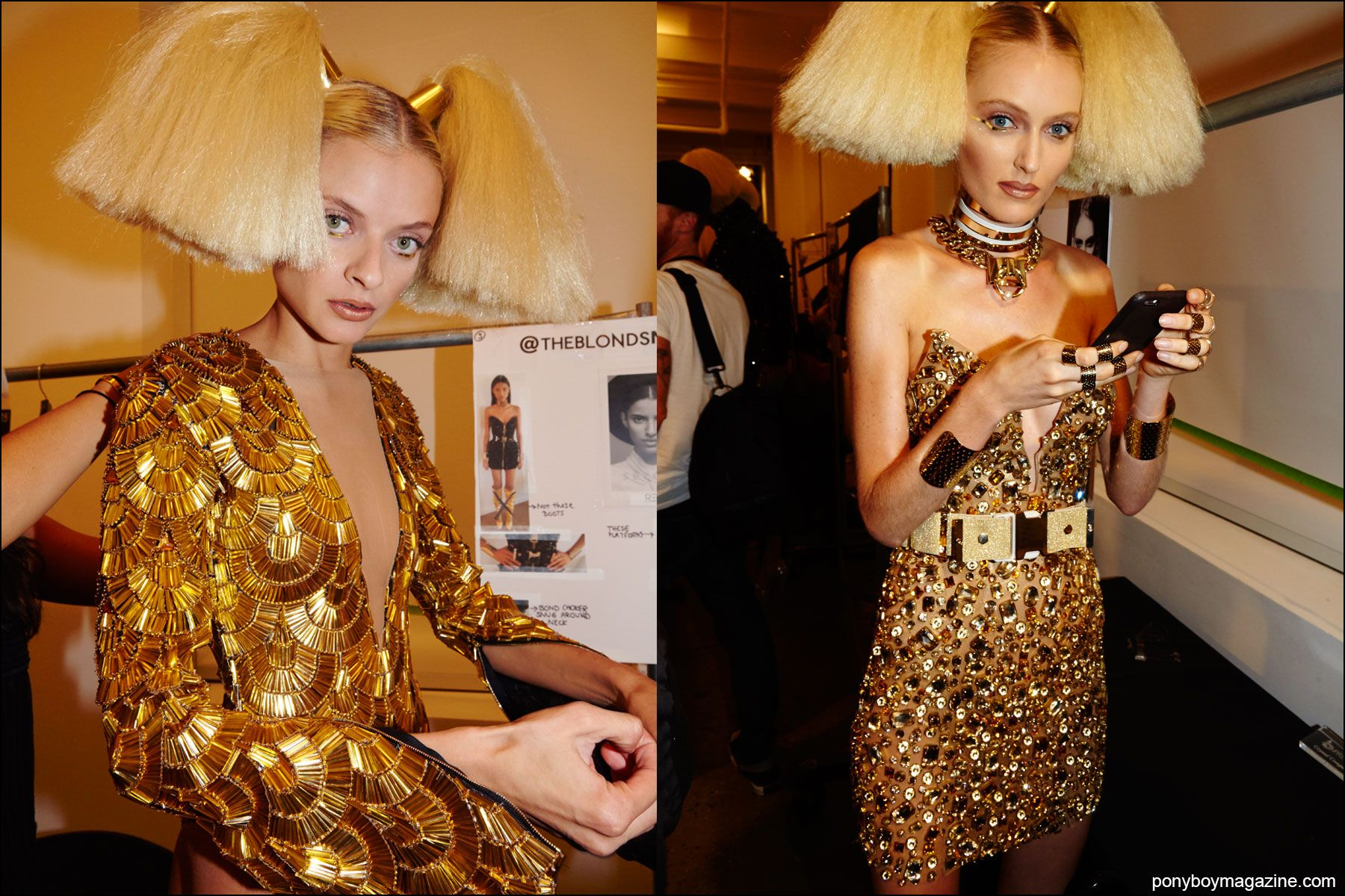 Models change backstage after the Blonds S/S16 runway show. Photographs by Alexander Thompson for Ponyboy magazine NY.