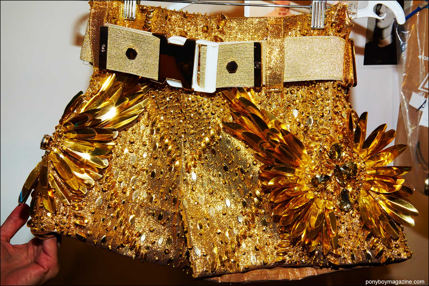 Detail shot of a gold hot pant from the Blonds S/S16 show, photographed by Alexander Thompson for Ponyboy magazine NY.