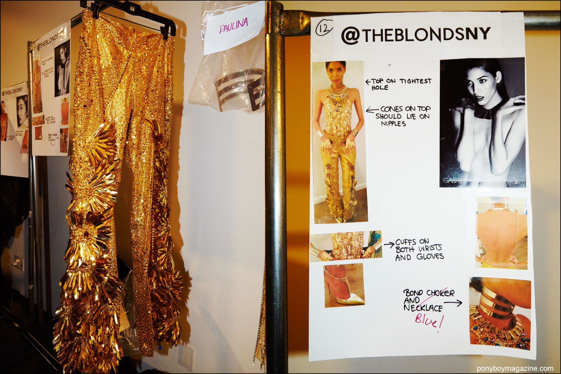 Detail shots of gold trousers and a models comp card, backstage at the Blonds S/S16 runway show. Photography by Alexander Thompson for Ponyboy magazine NY.