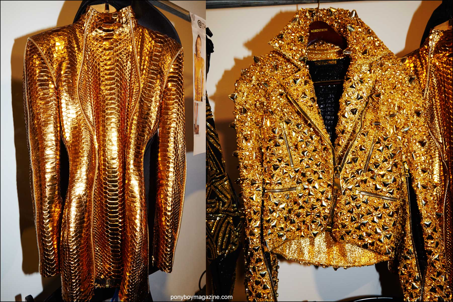 Detail shots of a snakeskin mini dress and a gold motorcycle jacket, backstage at the Blonds S/S16 runway show. Photography by Alexander Thompson for Ponyboy magazine NY.