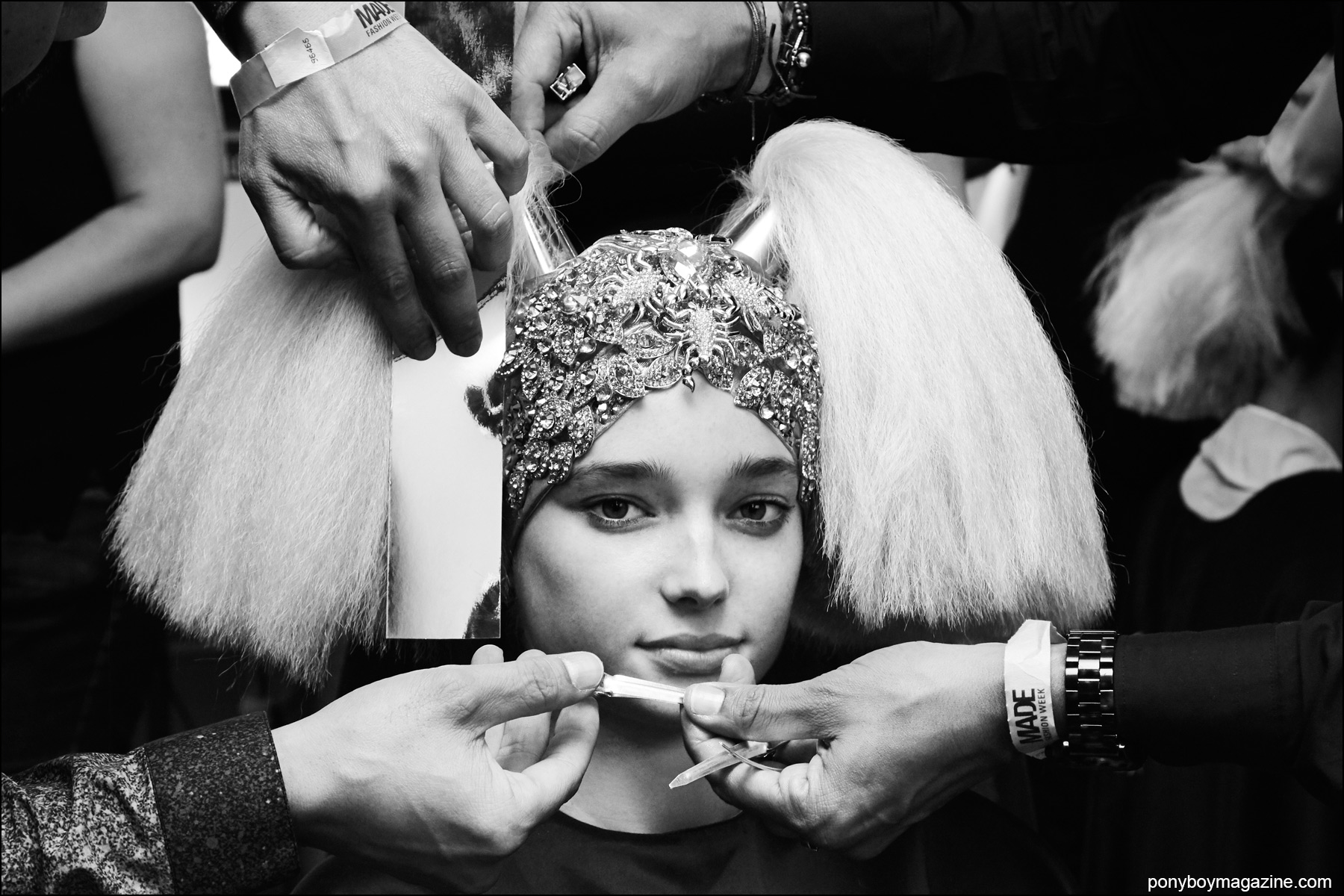 Model Lydia Hunt photographed backstage in hair at the Blonds Spring/Summer 2106 show. Photograph by Alexander Thompson for Ponyboy magazine NY.