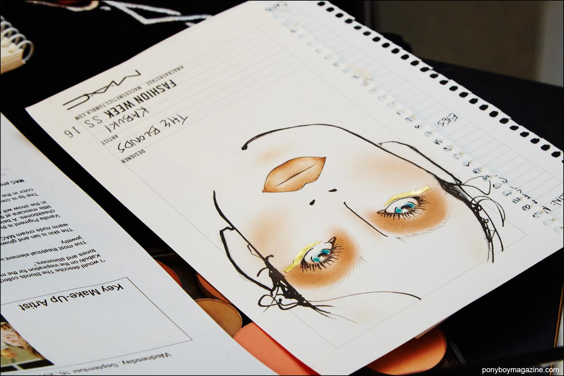 MAC makeup illustration for the Blonds S/S16, photographed backstage by Alexander Thompson for Ponyboy magazine NY.