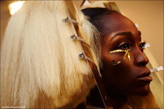 Egyptian inspired makeup designed by Kabuki, backstage at the Blonds Spring/Summer 2016 show. Photographed by Alexander Thompson for Ponyboy magazine.