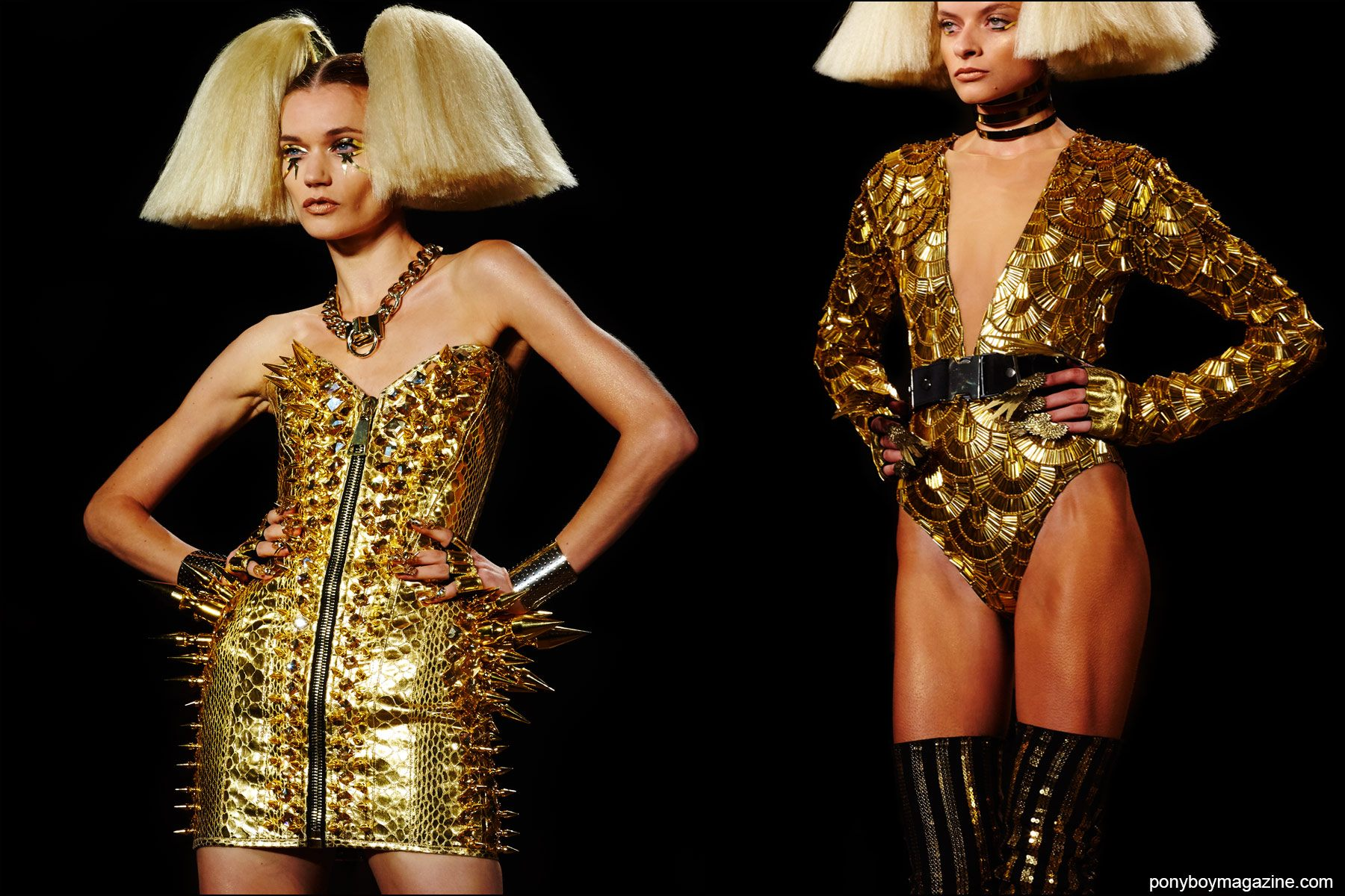Gold creations on the Blonds Spring/Summer 2016 runway, photographed by Alexander Thompson for Ponyboy magazine NY.