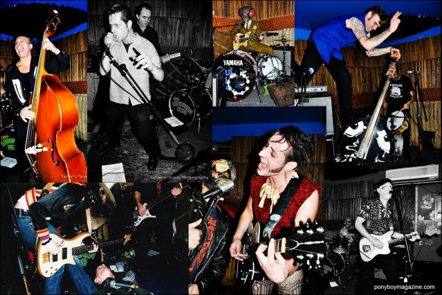 Photographs of rock 'n' roll bands that have played at New York City party Midnite Monster Hop. Ponyboy magazine.