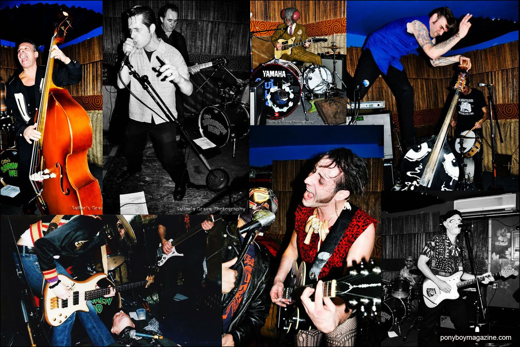 Photographs of rock 'n' roll bands that have played at New York City party Midnite Monster Hop. Ponyboy magazine NY.