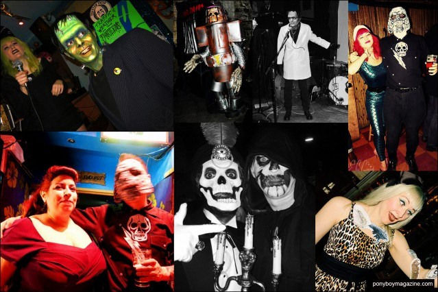 Assorted party photographs from New York City's Midnite Monster Hop. Pony boy magazine.
