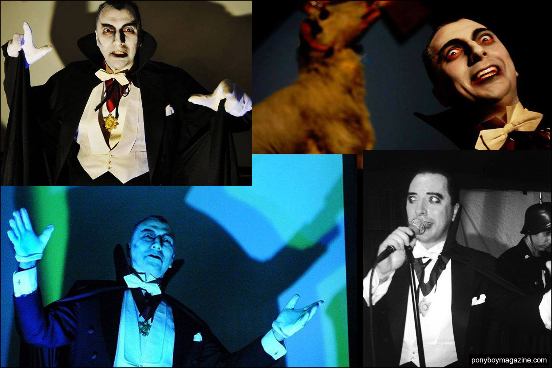 Photographs of Mike Decay dressed as Moloch for the Phantom Creep Theater. Pony boy magazine NY.