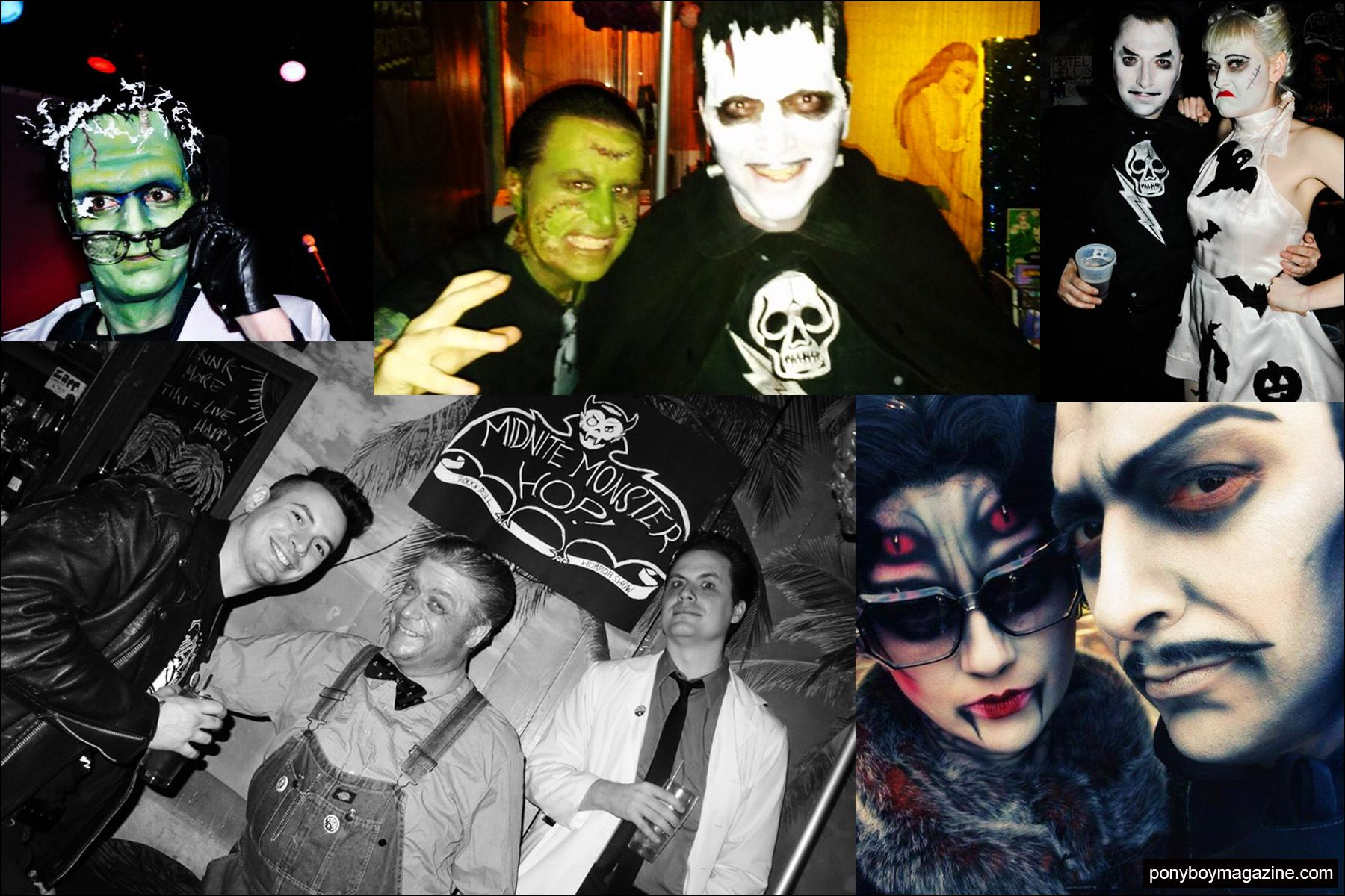 Assorted snapshots of colorful party attendees at the Midnite Monster Hop in New York City. Ponyboy magazine NY.