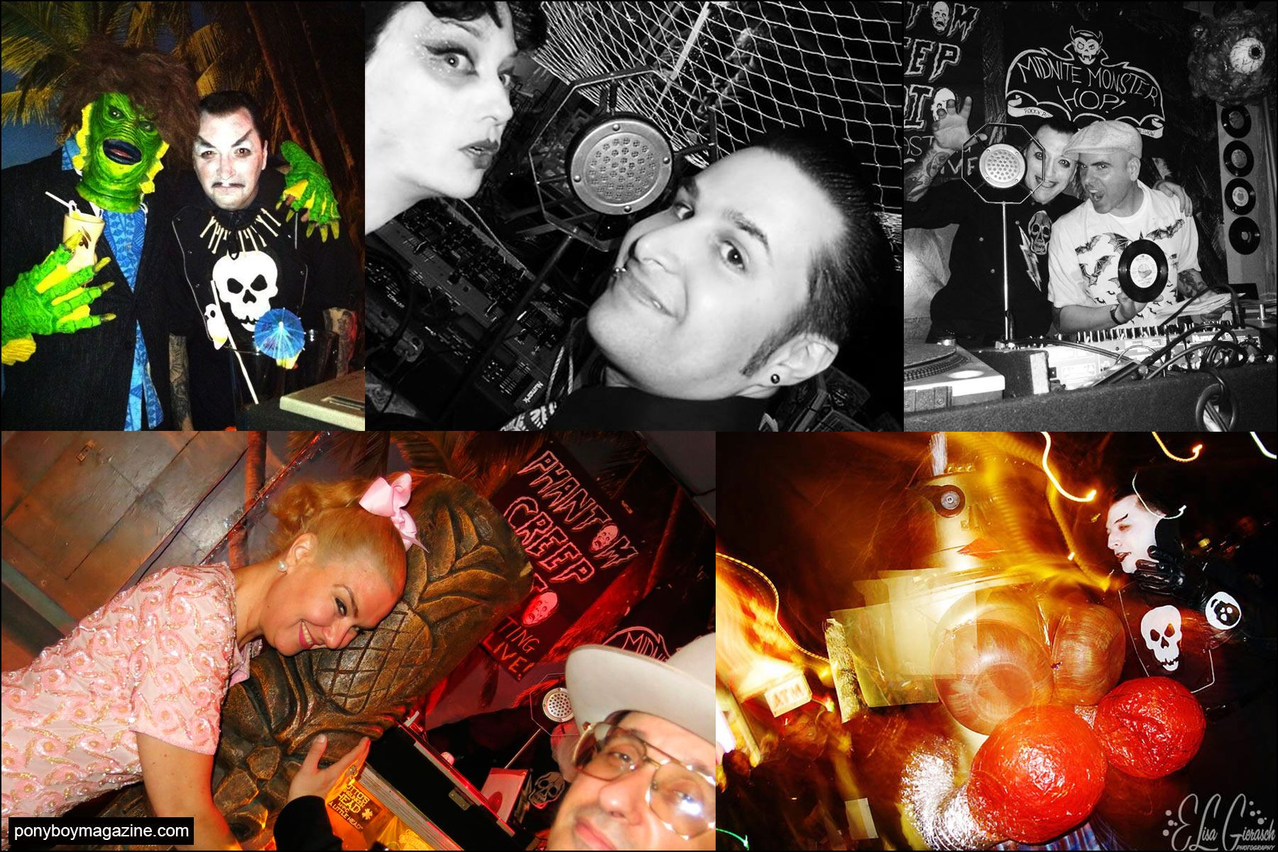 An assorted cast of characters at the Midnite Monster Hop in New York City at Otto's Tiki Bar. Ponyboy magazine NY.