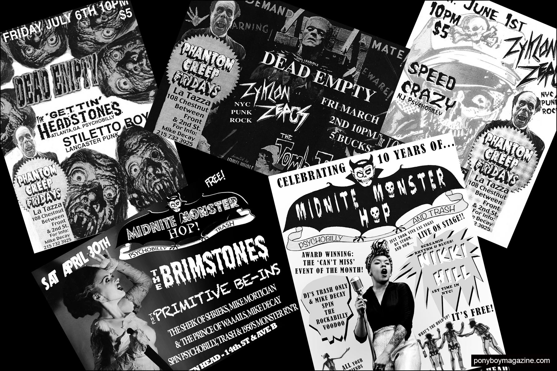 Incredible flyers from New York City party Midnite Monster Hop. Ponyboy magazine NY.