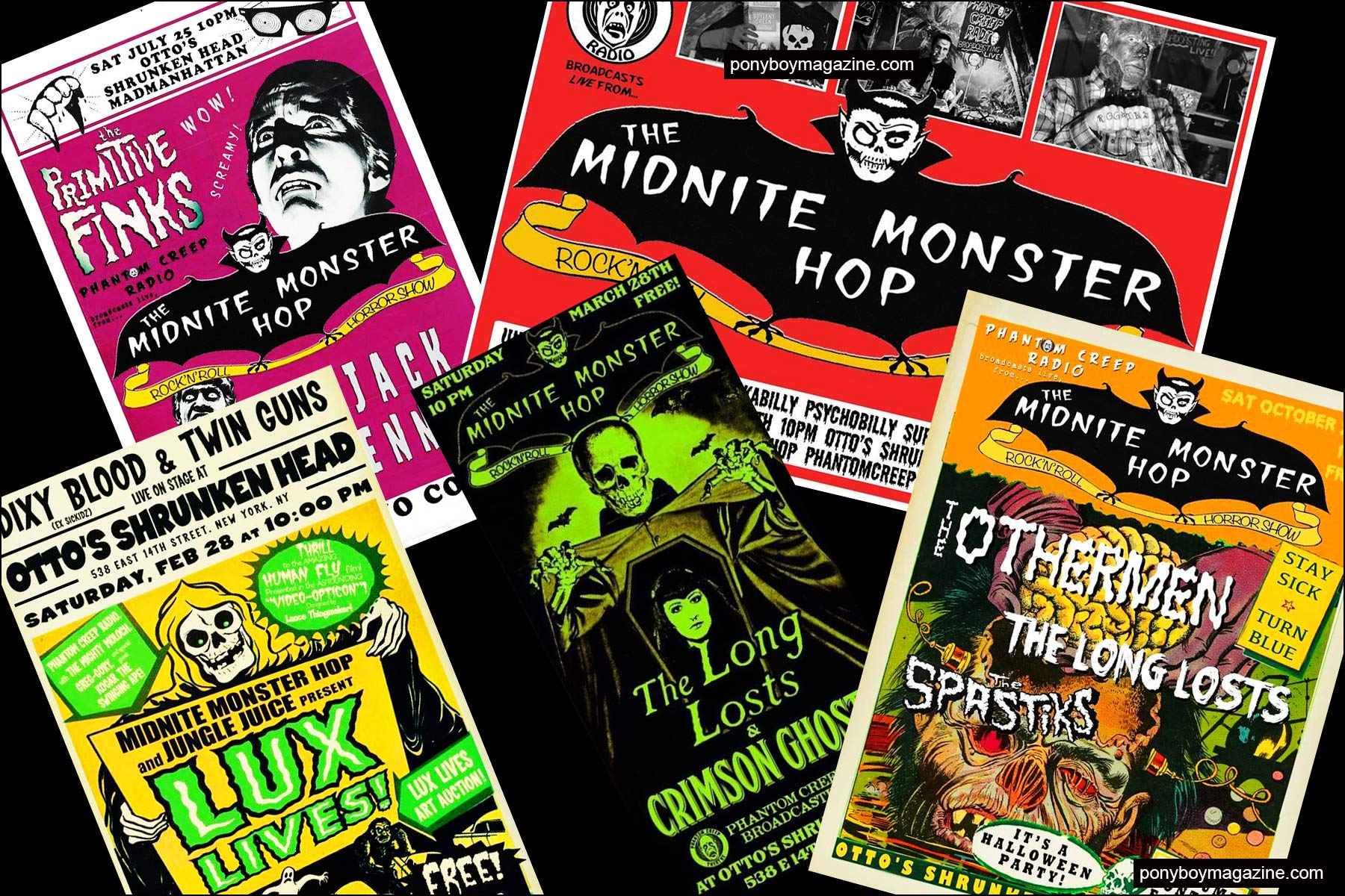Colorful flyers from the Midnite Monster Hop. Ponyboy magazine NY.