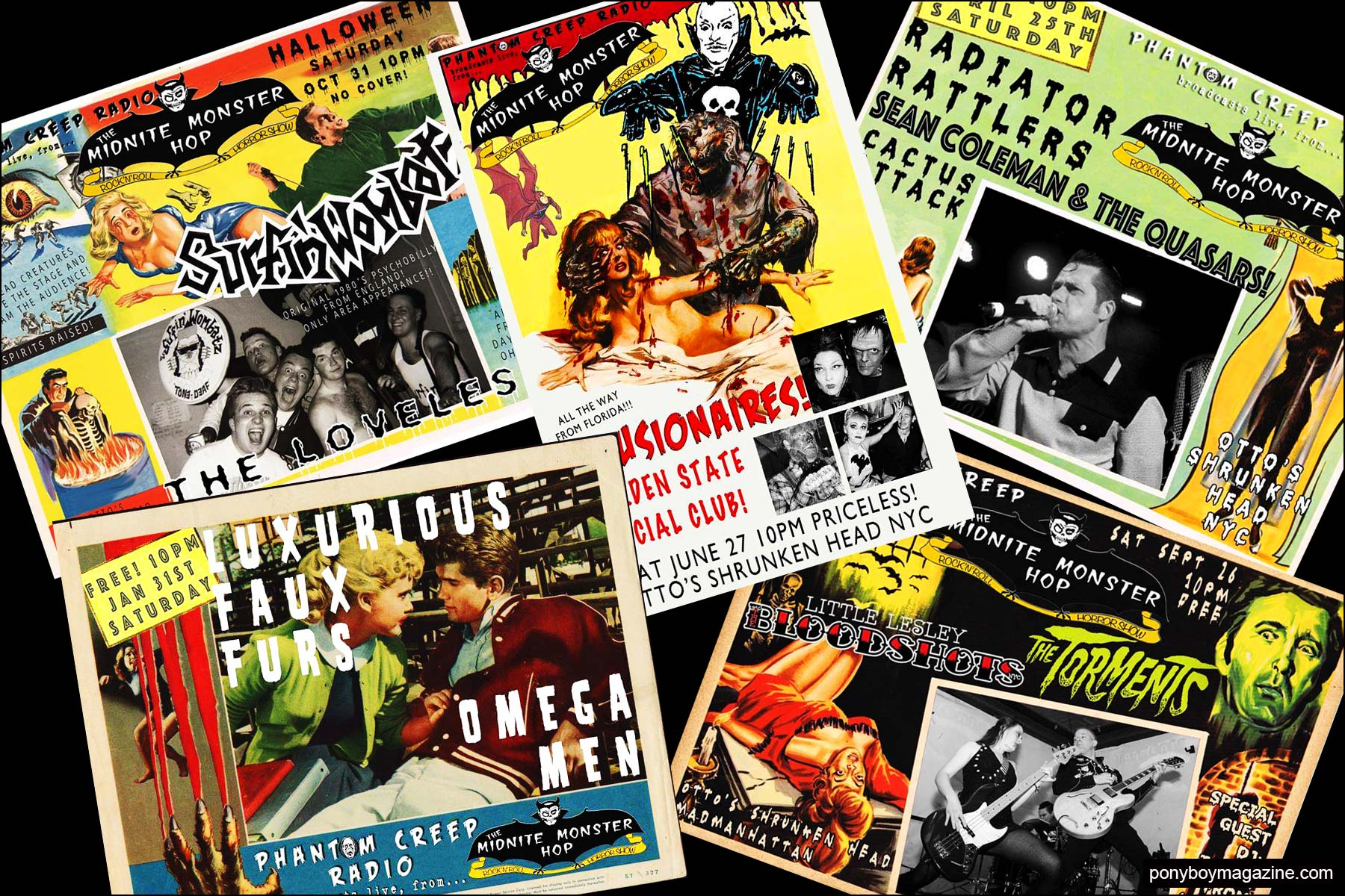 Assorted colorful flyers from the Midnite Monster Hop. Ponyboy magazine NY.