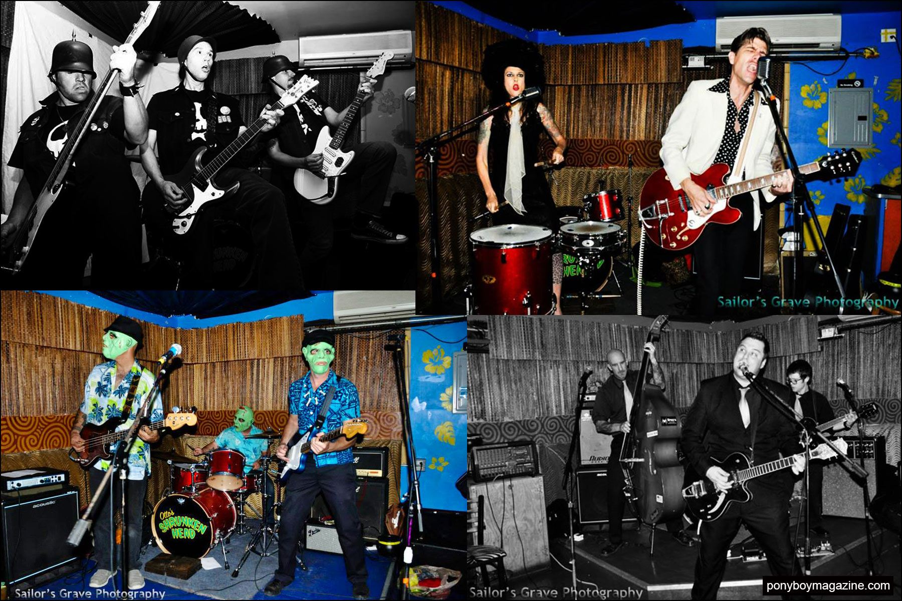 Photographs of bands that have played at New York City party Midnite Monster Hop. Ponyboy magazine NY.