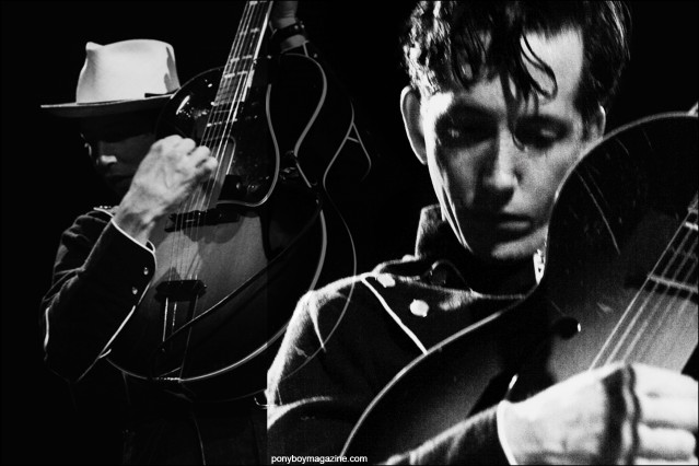 Black and white photographs of musician Pokey LaFarge, photographed onstage at Bowery Ballroom in New York City. Photography by Alexander Thompson for Ponyboy magazine.