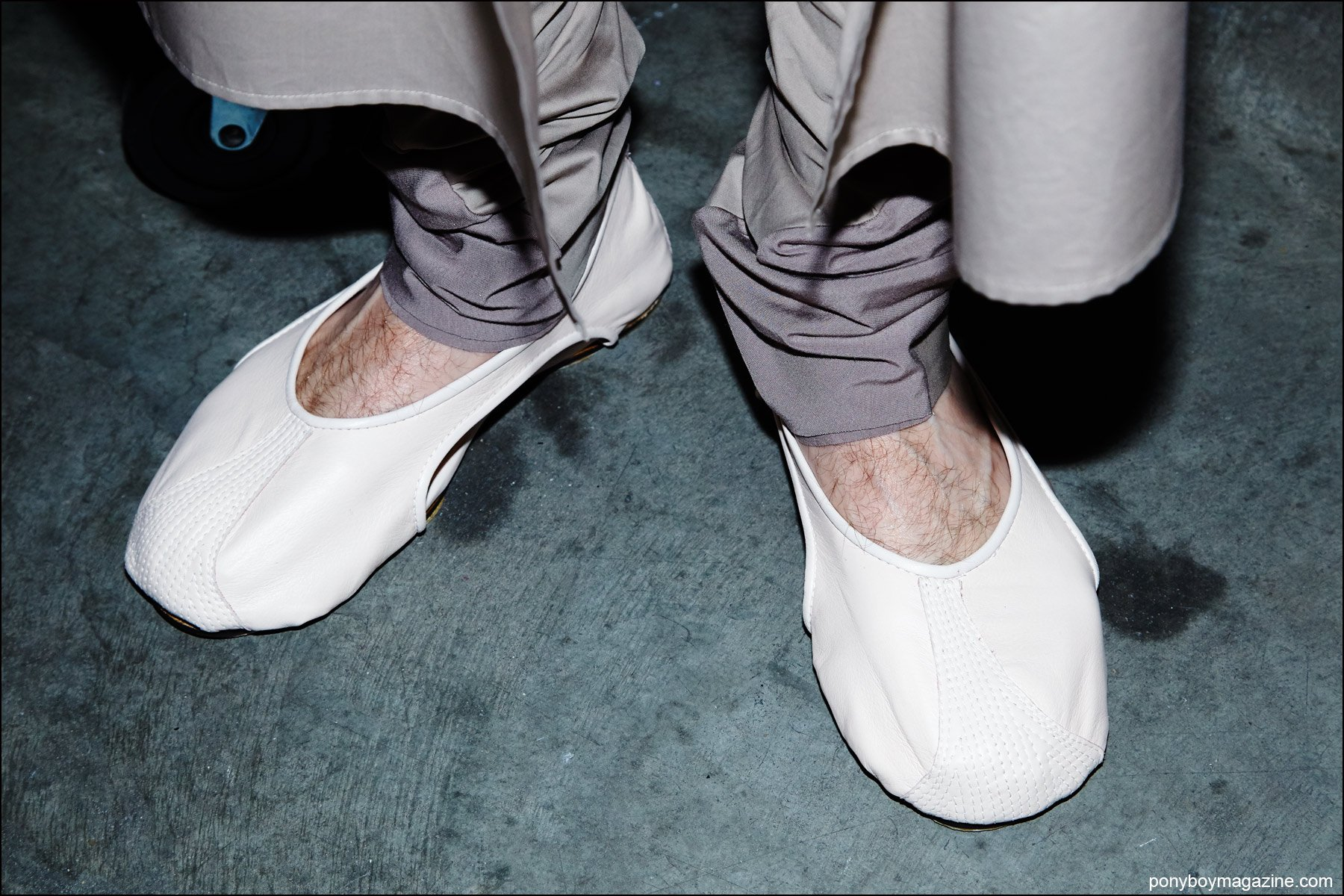 Detail shot of models shoes, backstage at the threeASFOUR Spring/Summer 2016 fashion show. Photography by Alexander Thompson for Ponyboy magazine NY.