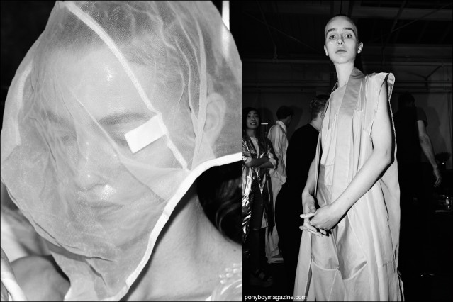 Models photographed backstage dressing at the threeASFOUR S/S16 fashion show. Photography by Alexander Thompson for Ponyboy magazine.