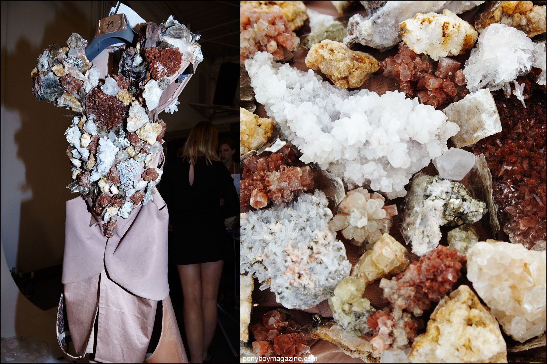 Detail shots of a crystal encrusted bodice photographed backstage at the threeASFOUR Spring/Summer 2016 show. Photographs by Alexander Thompson for Ponyboy magazine NY.