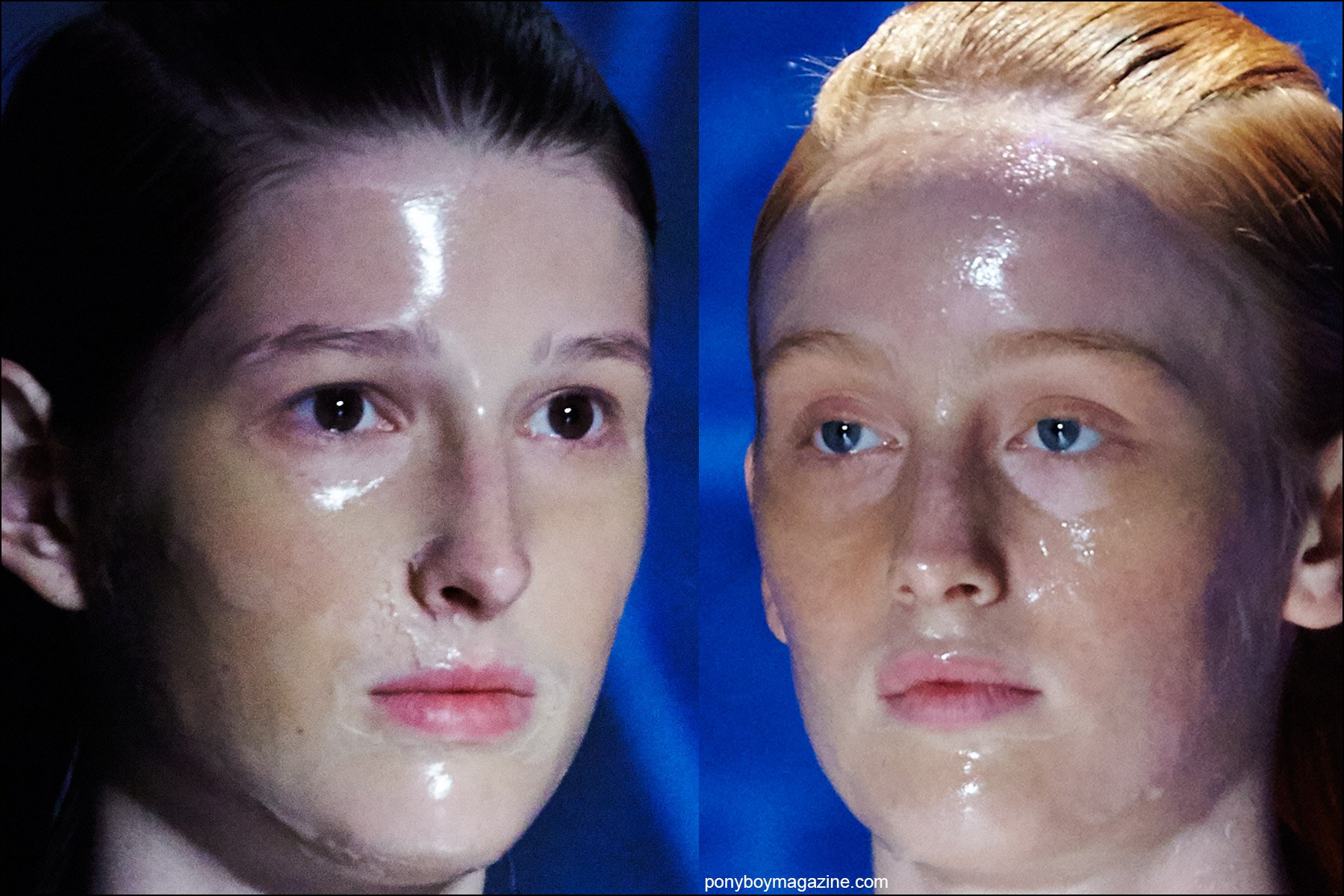 Latex makeup photographed on female models on the runway at the threeASFOUR Spring/Summer 2016 show. Photographs by Alexander Thompson for Ponyboy magazine NY.