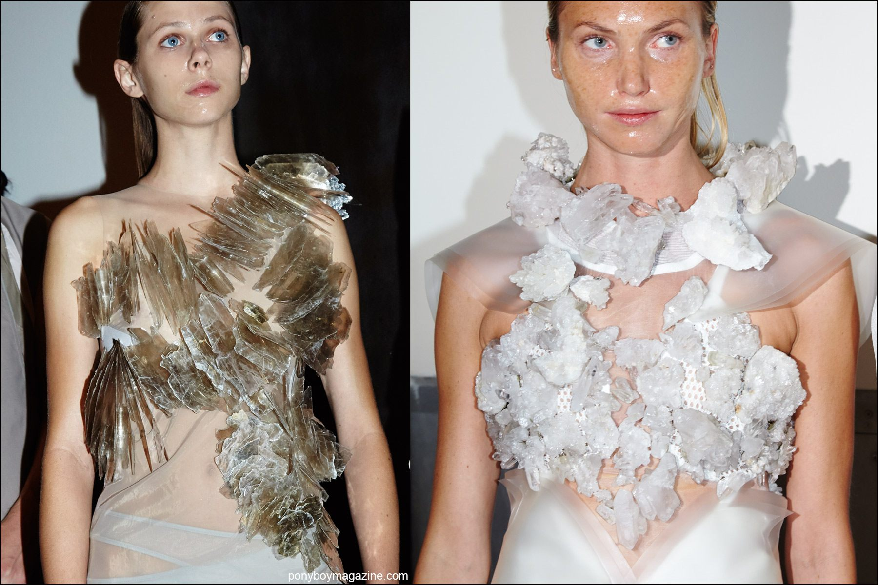 Close-up photographs of models crystal encrusted dresses, backstage at threeASFOUR S/S16. Photographed for Ponyboy magazine NY by Alexander Thompson.