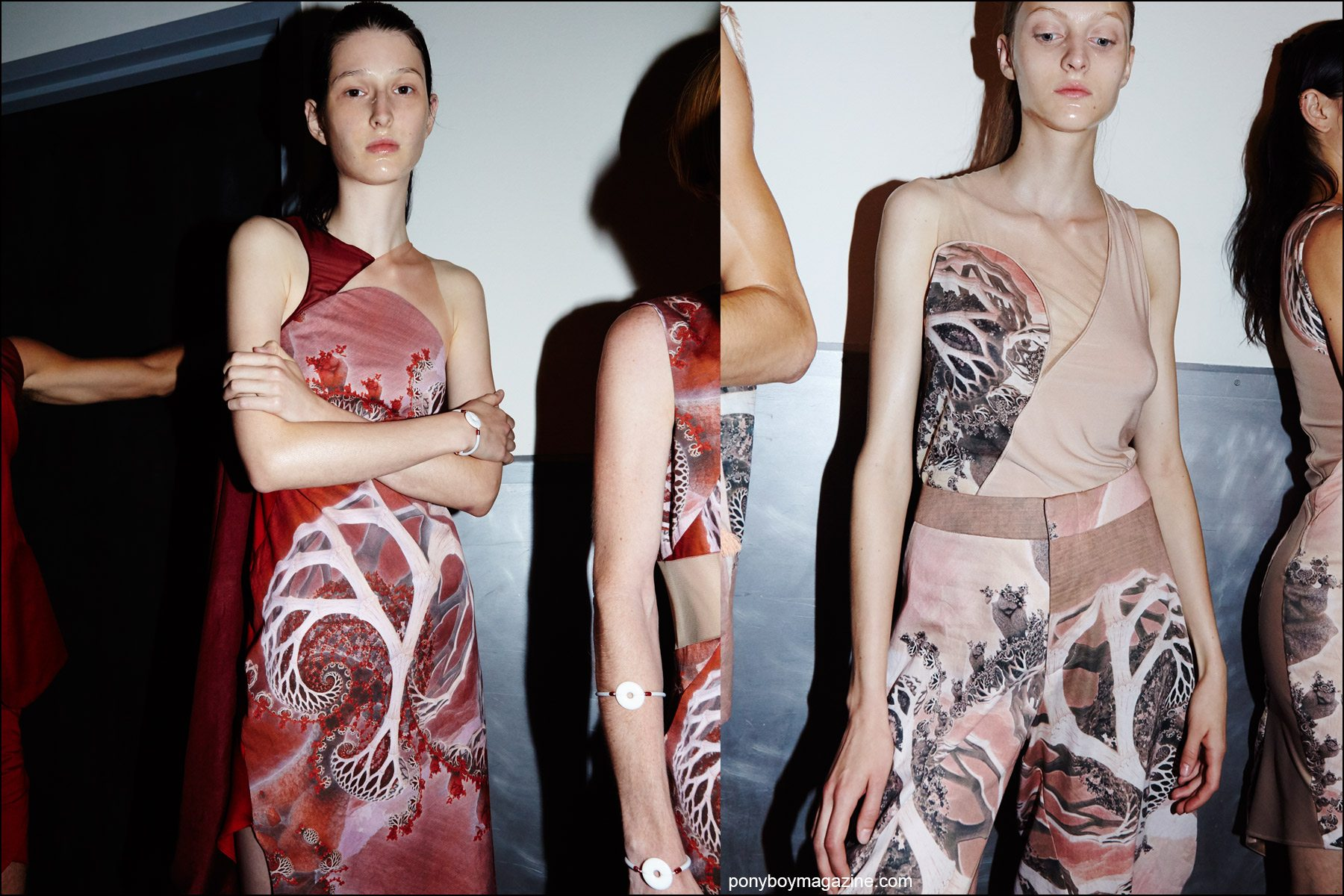 Futuristic prints backstage at threeASFOUR S/S16. Photographed for Ponyboy magazine NY by Alexander Thompson.