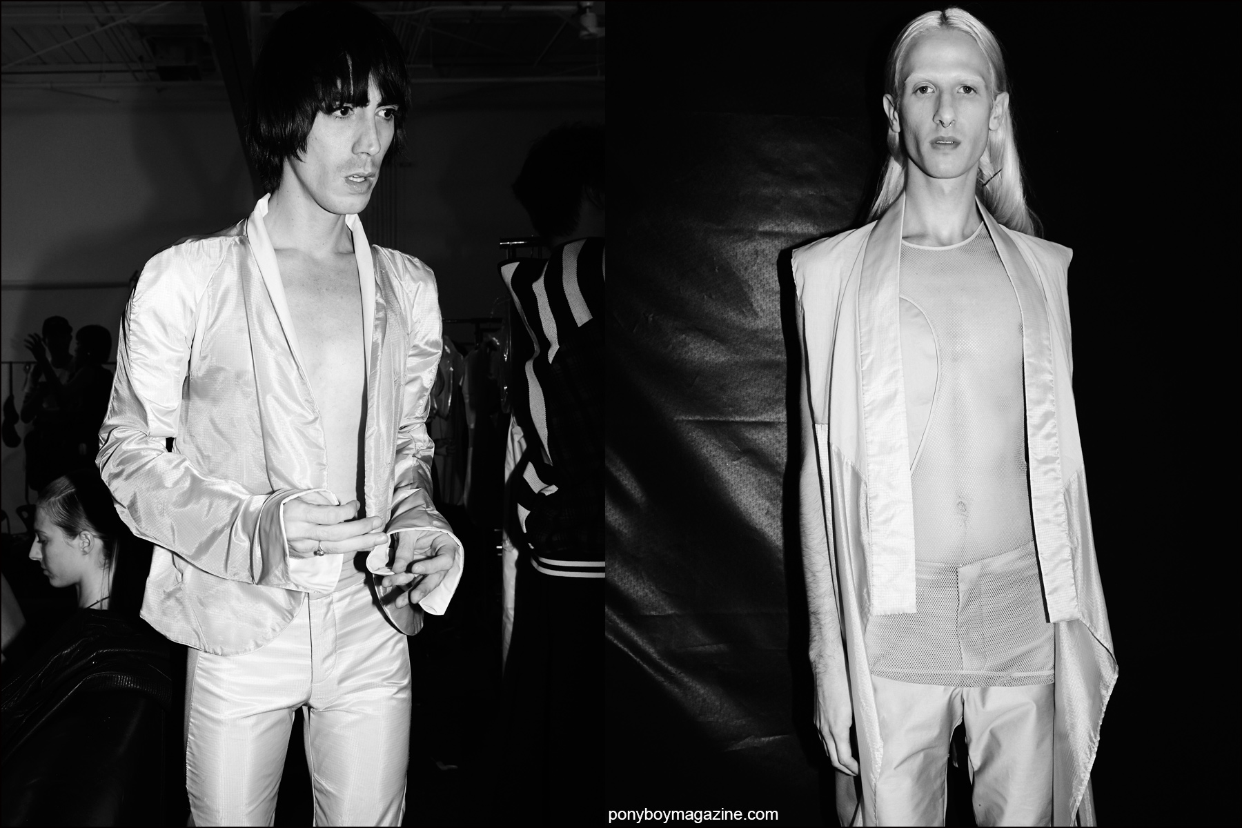 Male models photographed backstage at the Spring/Summer 2016 fashion show by avant garde design trio threeASFOUR. Photography by Alexander Thompson for Ponyboy magazine NY.
