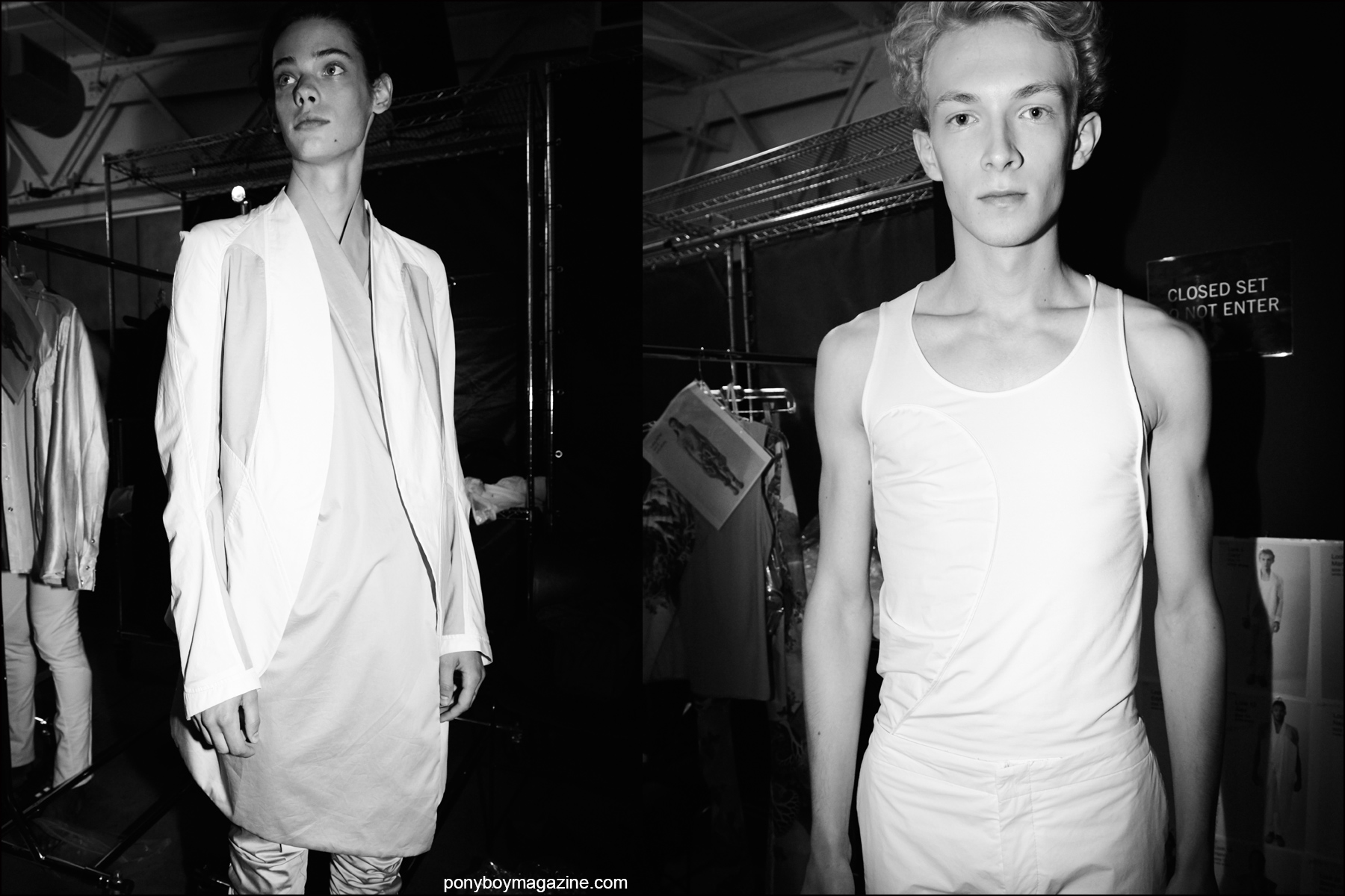 The threeASFOUR S/S16 collection photographed backstage on male models during New York Fashion Week. Photography by Alexander Thompson for Ponyboy magazine NY.