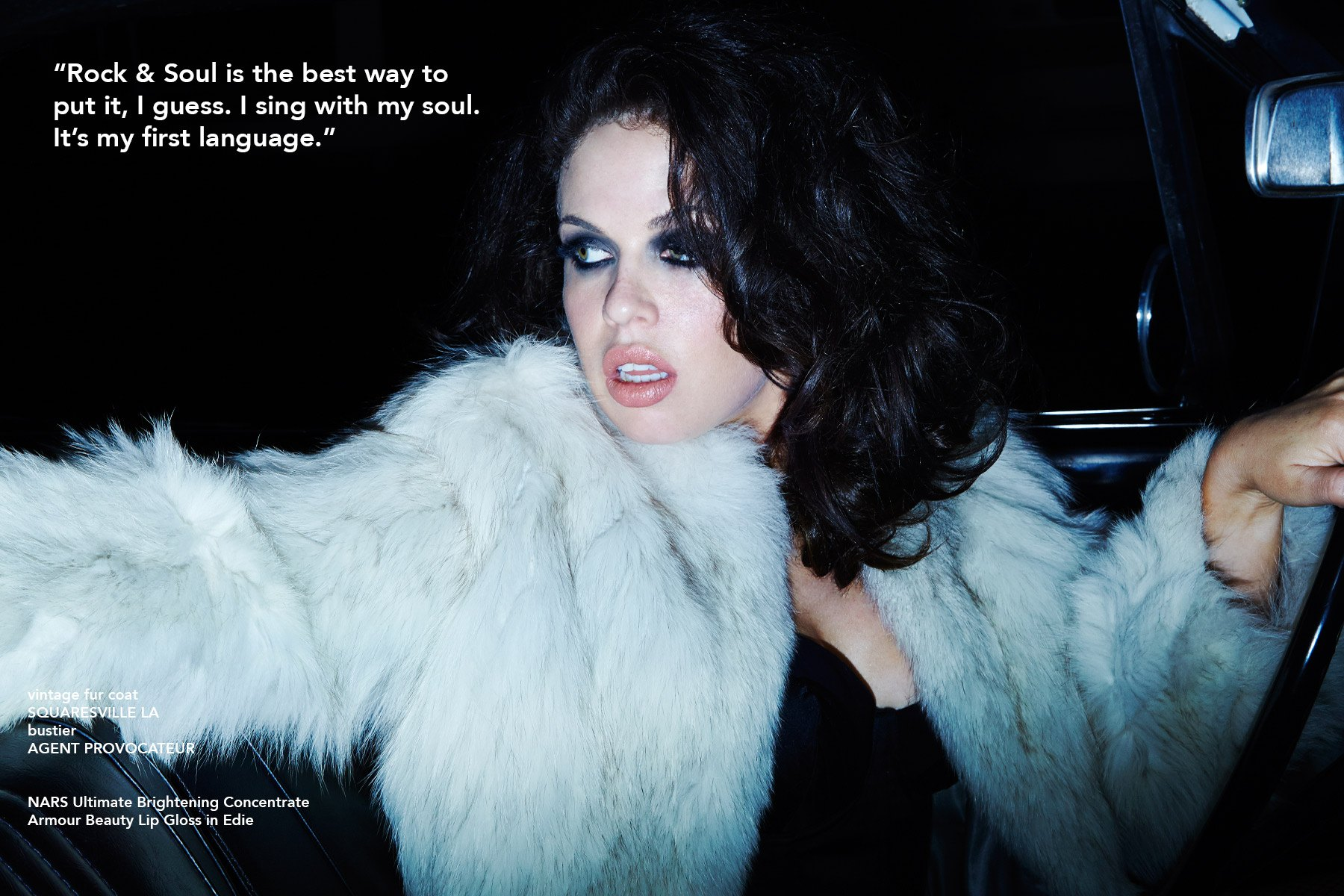 Musician Kelsy Karter photographed in a vintage fur coat from Squaresville, and bustier from Agent Provocateur. Photographed by Alexander Thompson for Ponyboy magazine NY.
