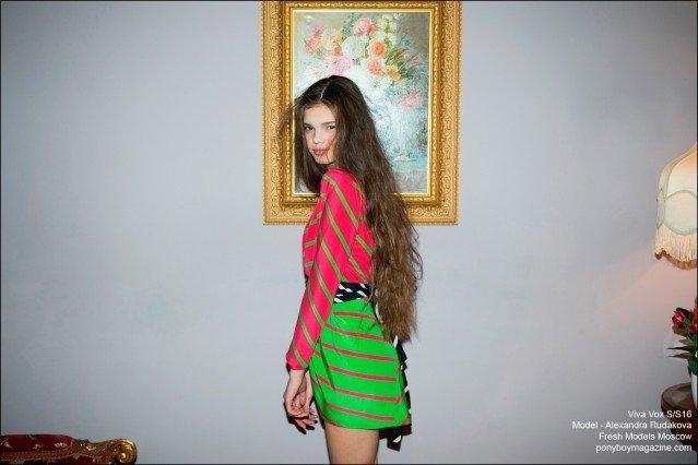 Sixteen-year-old Russian model Alexandra Rudakova, from Fresh Models Moscow photographed by Guy Kushi & Yariv Fein, wearing Viva Vox Spring/Summer 2016. Ponyboy magazine.