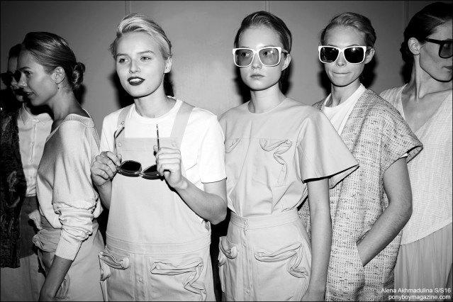 Models photographed backstage at the Alena Akhmadulina Spring/Summer 2016 show for Moscow Fashion Week. Photography by Guy Kushi & Yariv Fein. Ponyboy magazine.