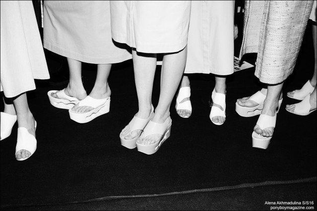 Models shoes photographed backstage at the Alena Akhmadulina Spring/Summer 2016 show for Moscow Fashion Week. Photography by Guy Kushi & Yariv Fein. Ponyboy magazine.
