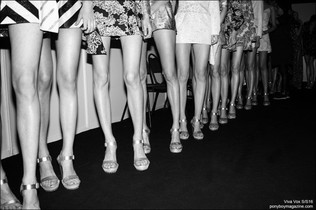 Leg shot of models, backstage at the Alena Akhmadulina Spring/Summer 2016 show for Moscow Fashion Week. Photography by Guy Kushi & Yariv Fein. Ponyboy magazine.