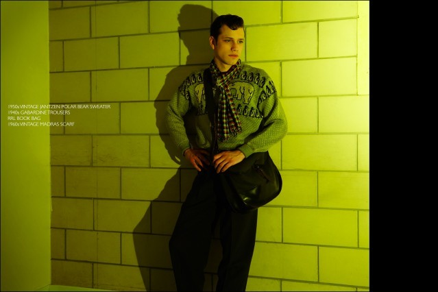 Rockabilly drummer Ben Heymann, from NYC band The Bothers, photographed in vintage clothing from New York City showroom Dated Vintage. Photographed by Alexander Thompson for Ponyboy magazine.