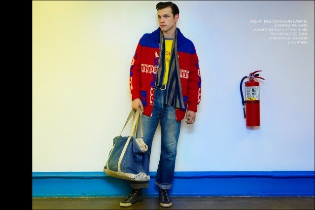 Rockabilly drummer Ben Heymann, from band The Bothers, photographed in vintage clothing from New York City showroom Dated Vintage. Photographed by Alexander Thompson for Ponyboy magazine.