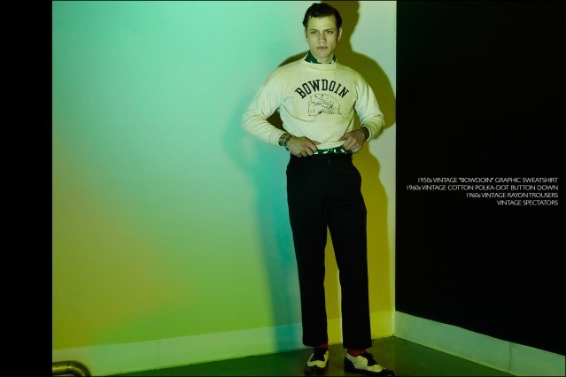 Rockabilly drummer Ben Heymann, from New York band The Bothers, photographed in vintage menswear from showroom Dated Vintage. Photography by Alexander Thompson for Ponyboy magazine.
