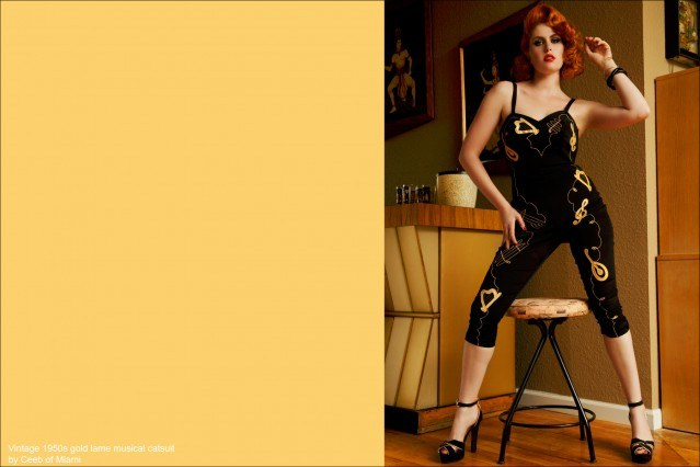 Doris Mayday in a vintage 50's gold lame musical catsuit. Photographed by Alexander Thompson for Ponyboy Magazine.