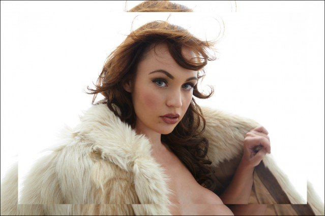Actress Emily Elicia Low photographed in a vintage fur by Alexander Thompson for Ponyboy magazine.