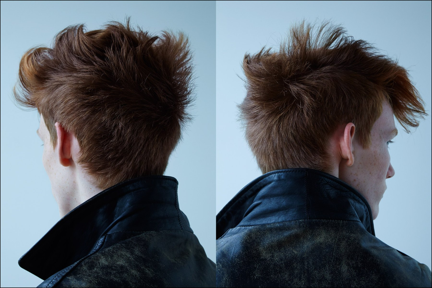Back of head shots Detail of head shots of model Matt Pitt's, photographed by Alexander Thompson, with men's grooming by Yuhi Kim, for Ponyboy magazine in New York City.