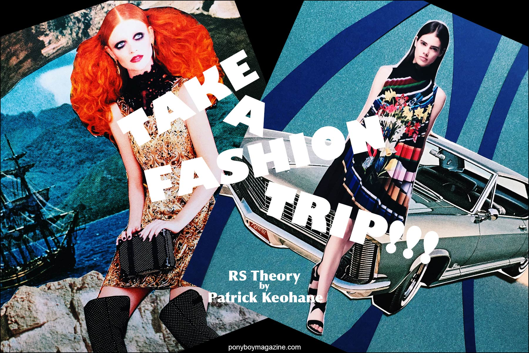 Collage artwork of Alice & Olivia by Patrick Keohane for RS Theory. Ponyboy magazine.