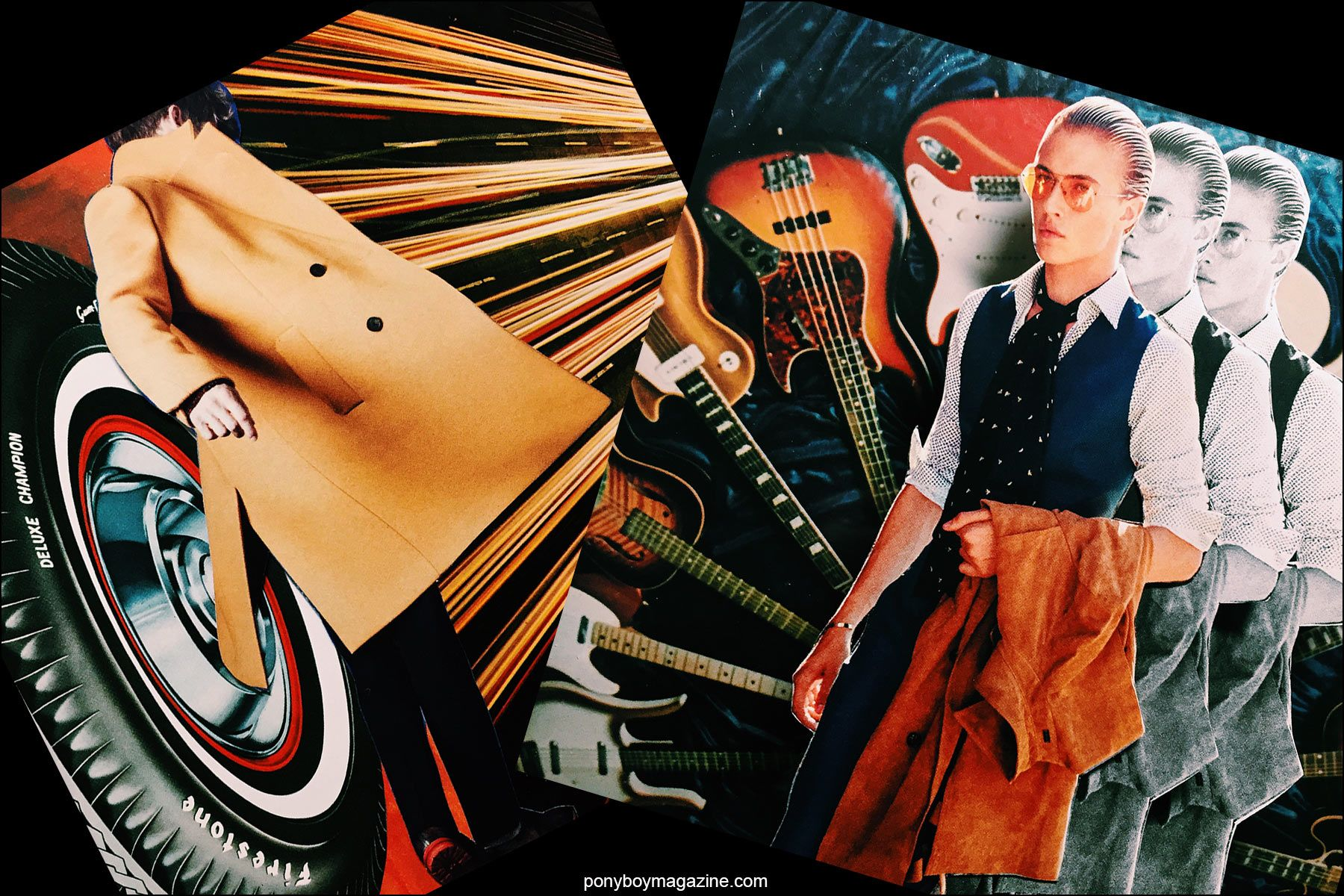 Collage artwork of Berluti and Lucky Blue images by Patrick Keohane for RS Theory. Ponyboy magazine NY.
