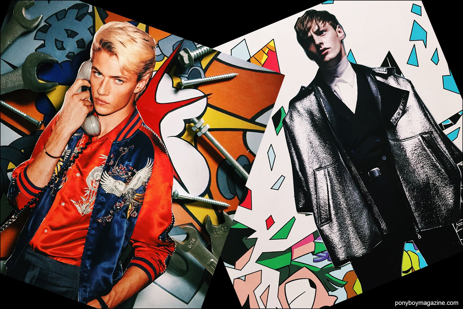 Collage artwork of Lucky Blue and Roberto Sipos images by Patrick Keohane for RS Theory. Ponyboy magazine NY.