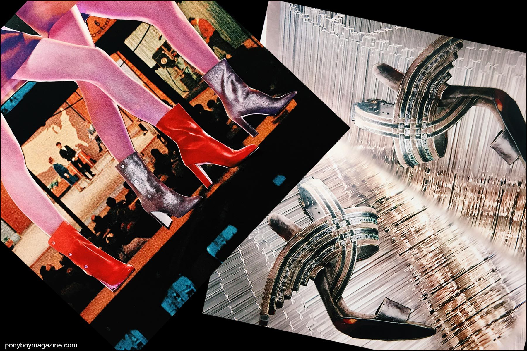 Collage artwork of Jimmy Choo and Ferragamo images by Patrick Keohane for RS Theory. Ponyboy magazine NY.