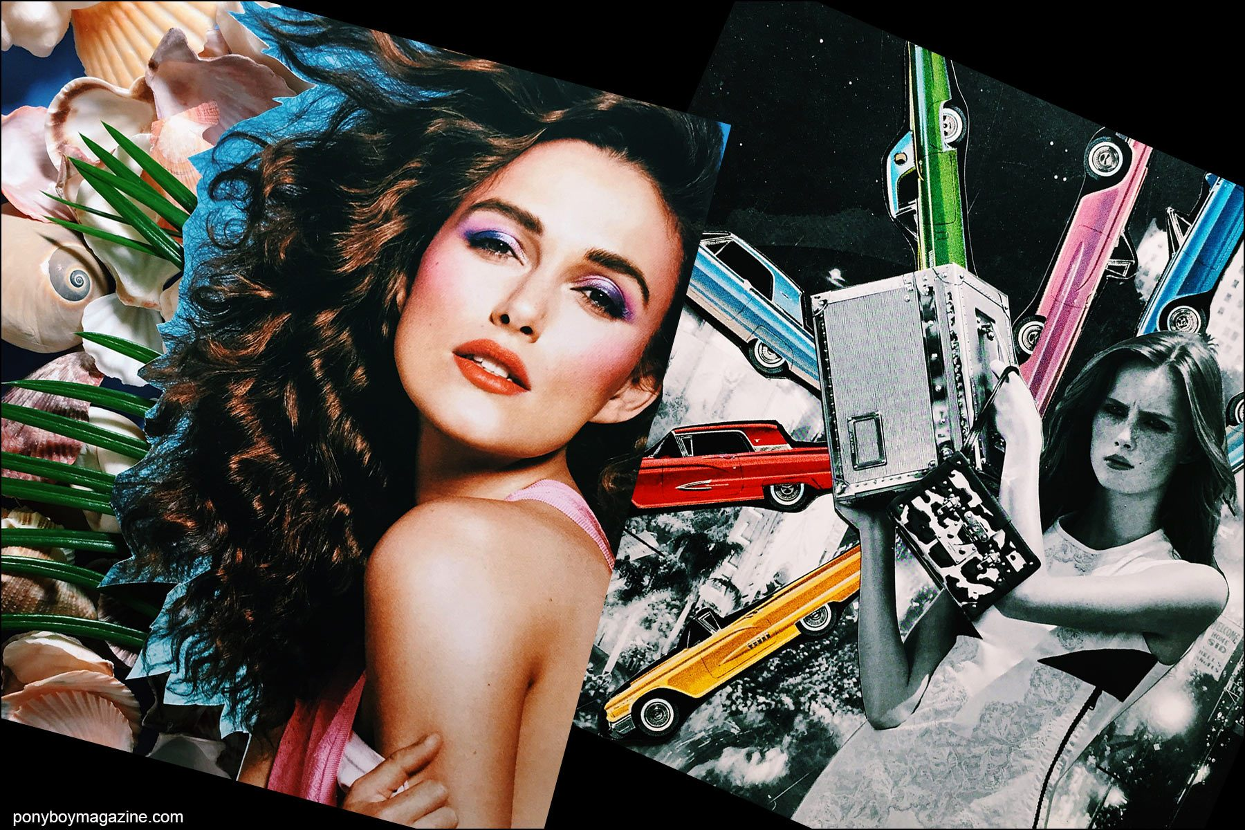 Collage artwork of Keira Knightly and Louis Vuitton images by Patrick Keohane for RS Theory. Ponyboy magazine NY.